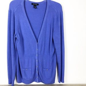 WHBM Button Cardigan in Blueberry